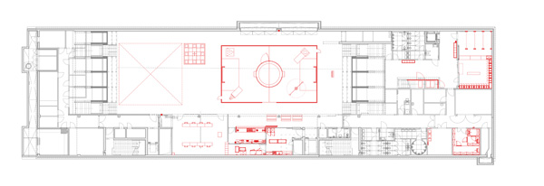 german football museum – floor plan, basement - arena and playing area