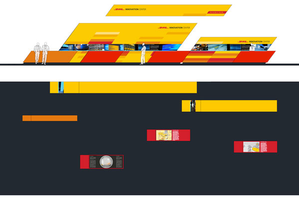 dhl innovation center, modulares messesystem – ansicht und grundriss